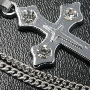 Croce pendente metallo trilobata strass e catenella s4