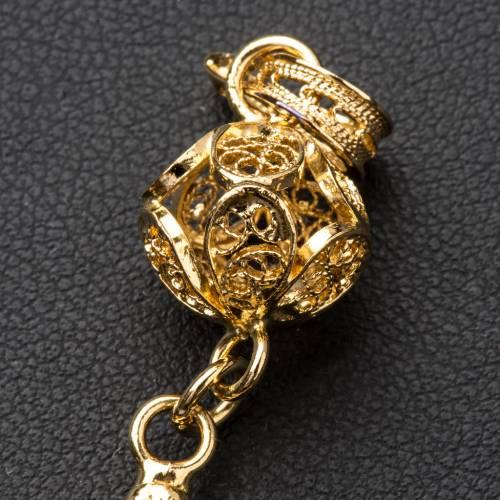 Croce pettorale arg. 800 dorata filigrana con decori s10