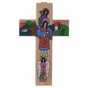 Crocifissi in legno: Croce Sacra Famiglia legno smaltato