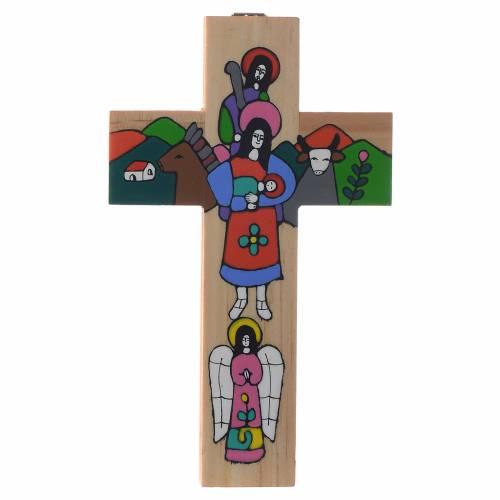 Croce Sacra Famiglia legno smaltato s3