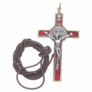 Collana Croce san Benedetto rosso elegante s3