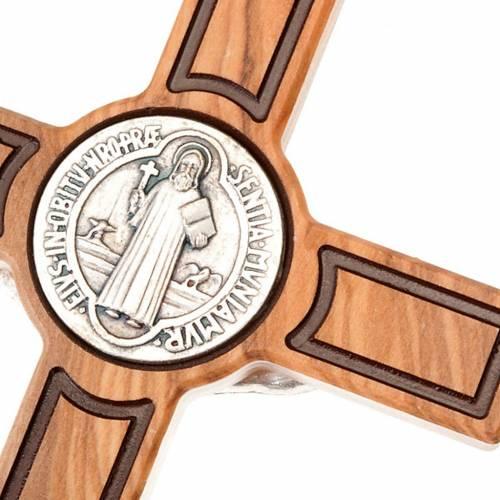 Croce san Benedetto olivo incisa 20 cm s3