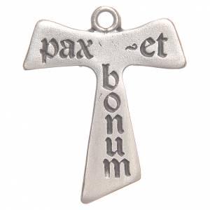 Pendenti croce metallo: Croce tau Pax et Bonum galvanica argento antico