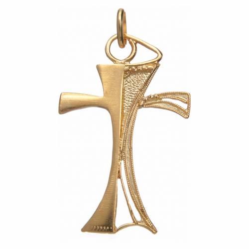 Croce traforata in argento 800 dorato 3,5x2,5 cm s1