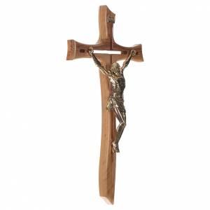 Croce ulivo Cristo resina oro 65 cm s2