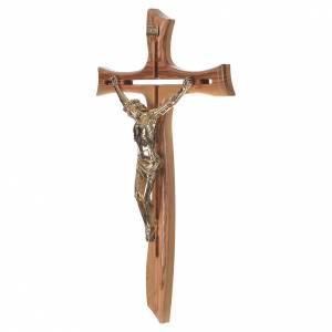 Croce ulivo Cristo resina oro 65 cm s3