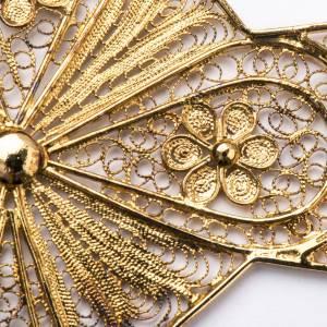 Croce vescovile argento 800 filigrana dorata s3