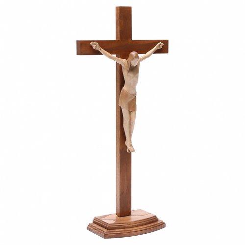 Crocifisso con base stilizzato legno Valgardena multipatinato s3