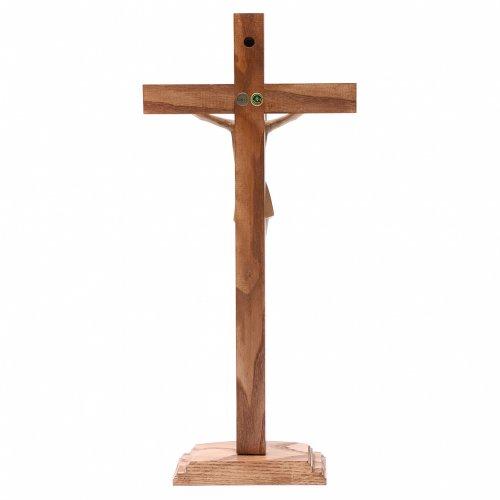Crocifisso con base stilizzato legno Valgardena multipatinato s4