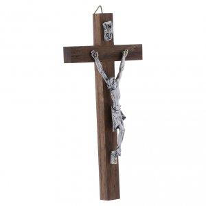 Crocifisso corpo argentato su croce in legno di noce moderno 16 cm s2
