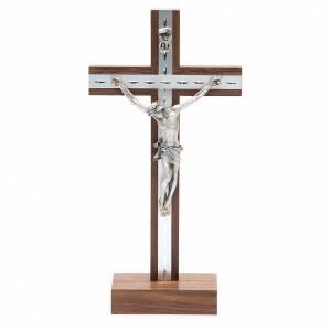 Crocifisso da tavolo in legno, metallo argentato e alluminio s1