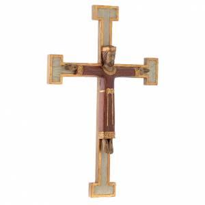 Crocifissi in pietra: Cristo Sacerdote Re rosso croce bianca