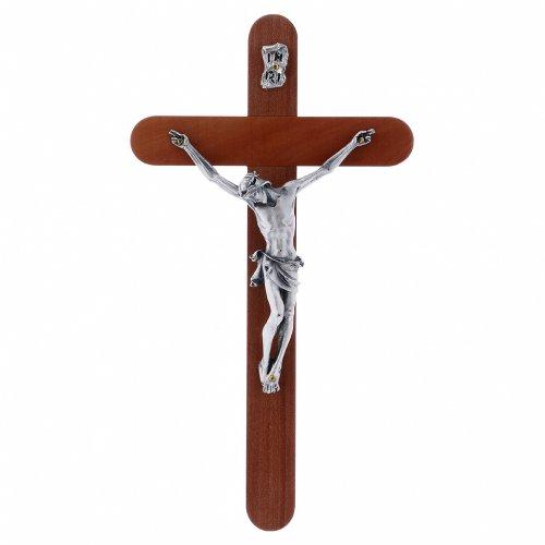 Crocifisso moderno in legno di pero arrotondato 21 cm corpo metallico s1