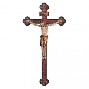 Crocifisso San Damiano croce antica barocca legno Valgardena manto gold s1