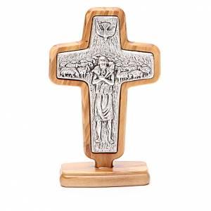 Crucifix à poser: Croix à poser métal Pape François bois olivier 13x8,5 cm