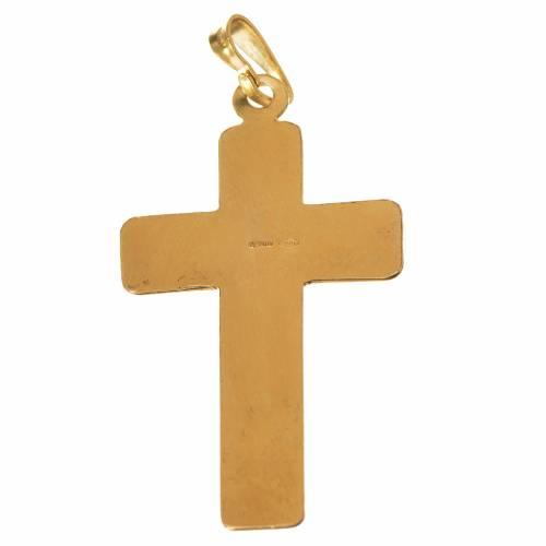 Croix argent 800 dorée à petits carrés s2