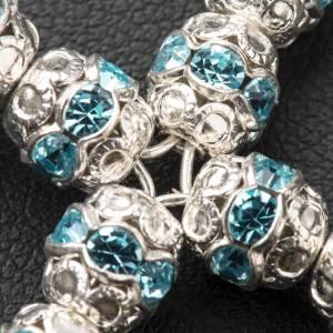 Croix argent strass bleu ciel s3