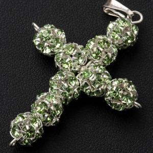Croix argent strass verts 8 mm s2