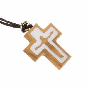 Pendentifs croix bois: Croix bois d'olivier corps de Christ en relief