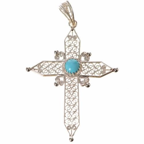 Croix pointes argent 800 et turquoise s1