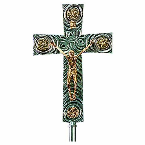Croix pour procession en laiton avec évangélistes 46x30 cm s1