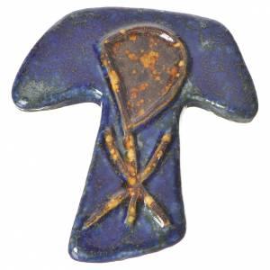 Croix tau avec Chi-Rho bleu et marron céramique s1