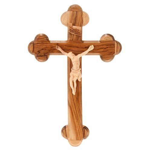 Croix tréflée terre sainte, bois d'olivier naturel s1