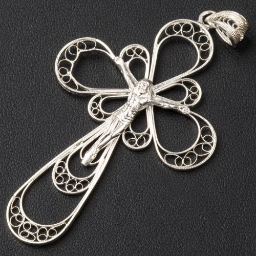 Cross in silver filigree with body of Christ s2