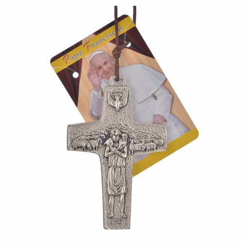 Cross of Pope Francis in metal with string, 8x5cm s3