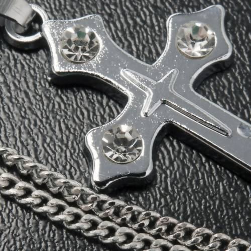Cross pendant, trefoil in metal with rhinestones and chain s4