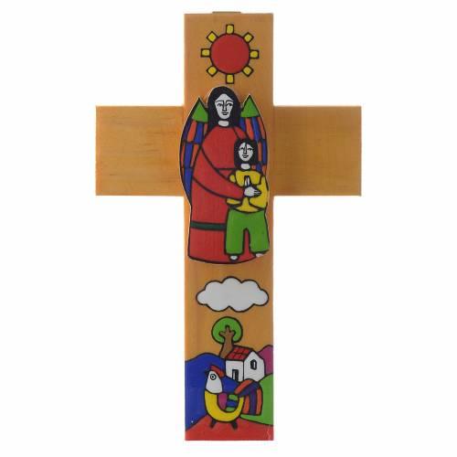 Cross with Guardian angel in enamelled wood s2