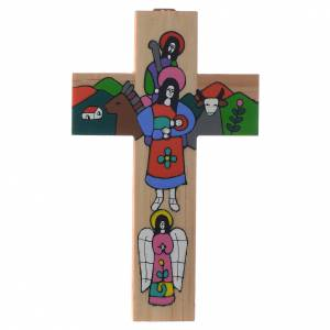 Cross with Holy Family in enamelled wood s3