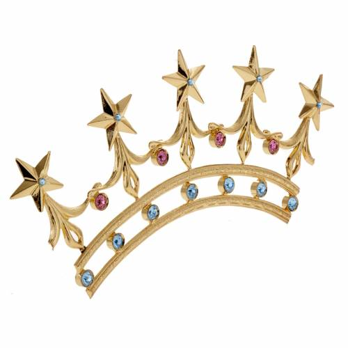 Crown for statues in gold plated filigree and color stones s2