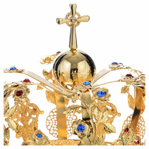 Crown in gold plated brass with floral decorations s3