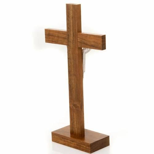 Crucifijo Cristo Resucitado de mesa madera nogal s4
