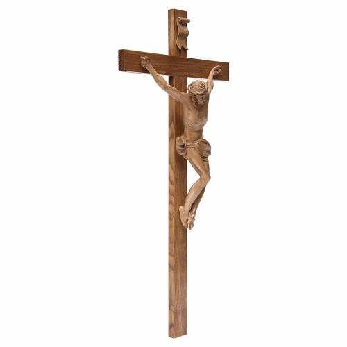 Crucifijo cruz recta modelo Corpus de madera Valgardena patinada s3