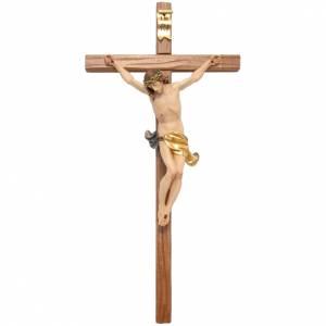 Crucifijo cruz recta tallada modelo Corpus, madera Valgardena s1