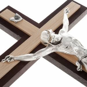 Crucifijo de madera wengè y fagus, cuerpo en metal s5