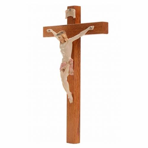 Crucifijo Fontanini 18x11,5 cm cruz madera cuerpo tipo porcelana s2