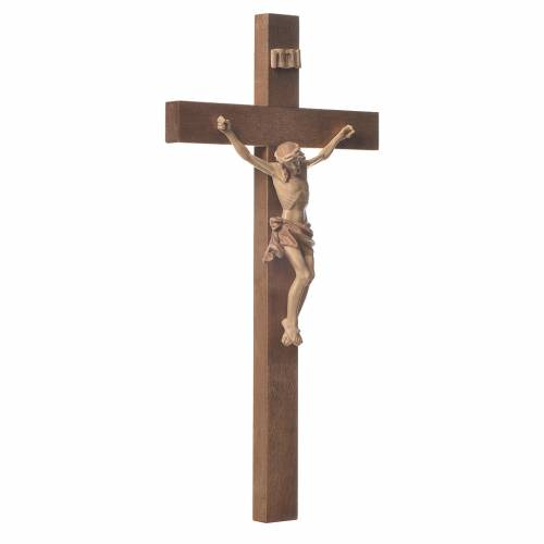 Crucifijo modelo Corpus, cruz recta madera Valgardena varias pat s2