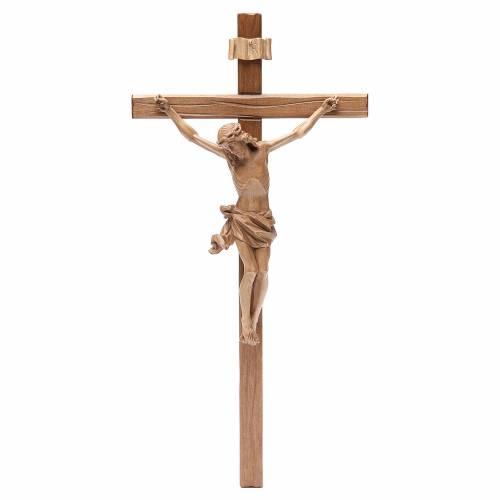 Crucifijo modelo Corpus, madera Valgardena patinada, cruz recta s1