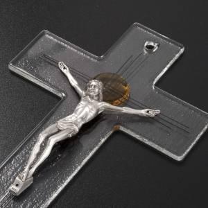 Crucifijo moderno vidrio transparente cruz metal s4