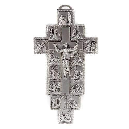 Crucifijo plateado 14 estaciones Vía Crucis y Cristo Resu s1