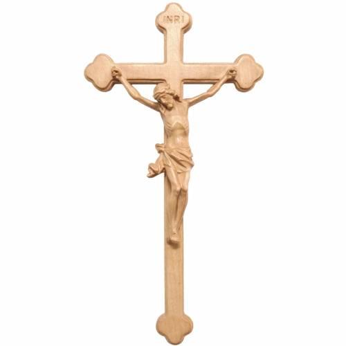 Crucifijo trilobulado de madera Valgardena patinada s1