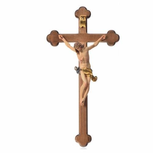 Crucifijo trilobulado modelo Corpus, madera Valgardena s1