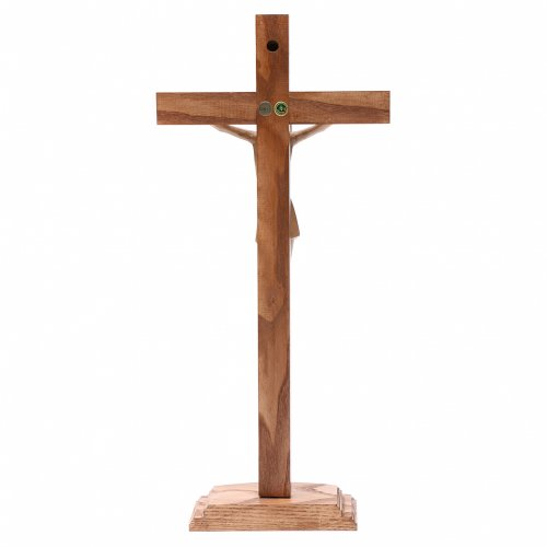 Crucifix avec base stylisé bois Valgardena patiné multinuance s4