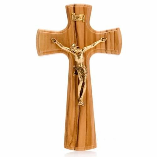 Crucifix, Christ's body in golden metal and olive wood cross s1