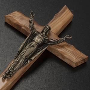 Crucifix bois d'olivier, Christ ressuscité bronze s3