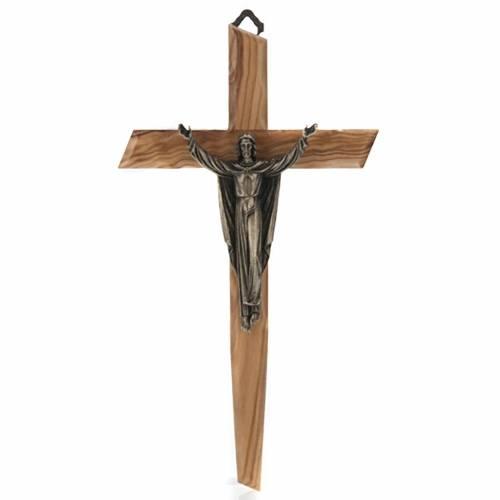 Crucifix bois d'olivier, Christ ressuscité bronze s1
