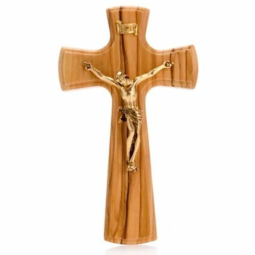 Crucifix bois d'olivier, corps doré s1